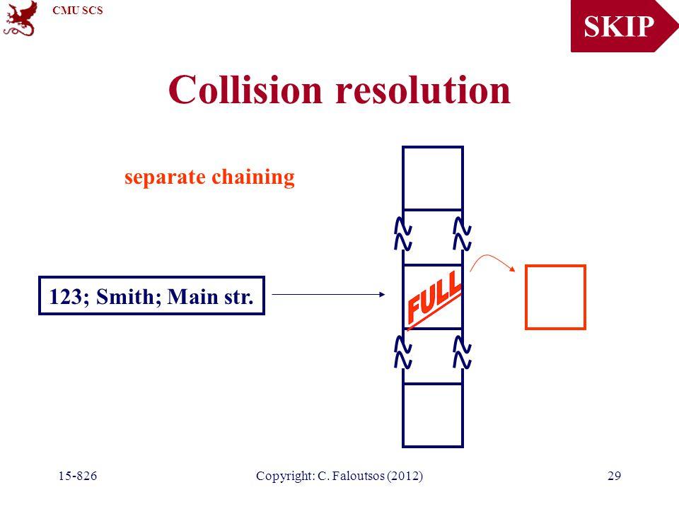 CMU SCS 15-826Copyright: C. Faloutsos (2012)29 Collision resolution 123; Smith; Main str.