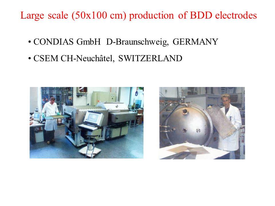 Large scale (50x100 cm) production of BDD electrodes CONDIAS GmbH D-Braunschweig, GERMANY CSEM CH-Neuchâtel, SWITZERLAND
