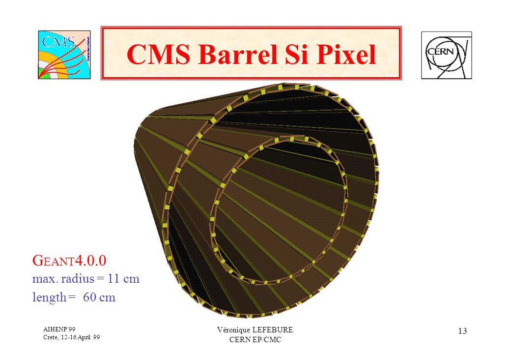 AIHENP'99 Crete, 12-16 April 99 Véronique LEFEBURE CERN EP/CMC 13 CMS Barrel Si Pixel G EANT 4.0.0 max.