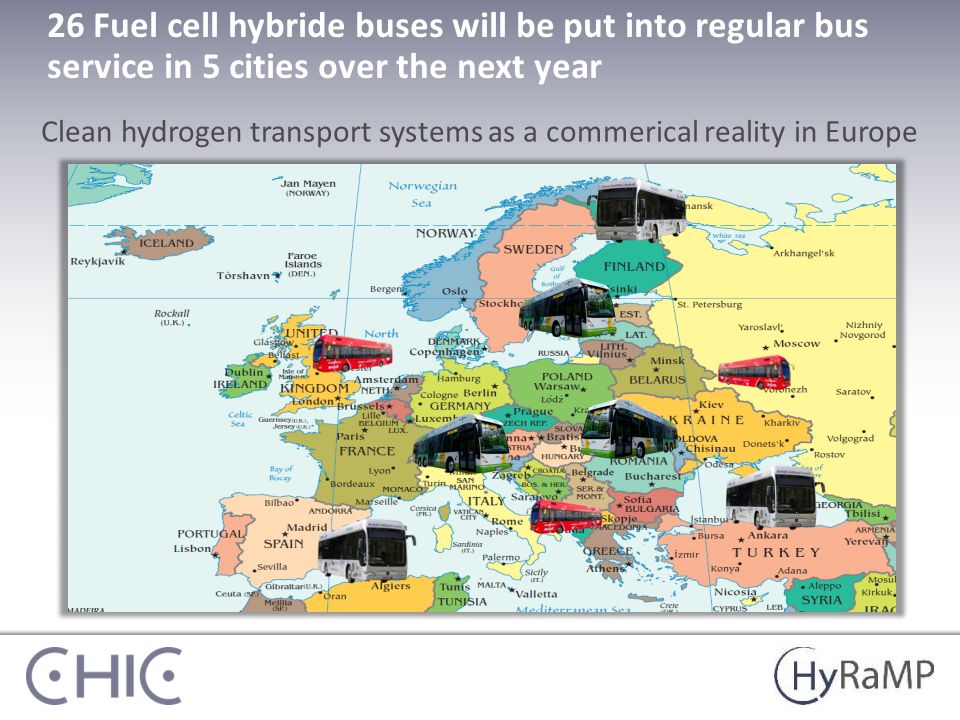 26 Fuel cell hybride buses will be put into regular bus service in 5 cities over the next year Clean hydrogen transport systems as a commerical reality in Europe