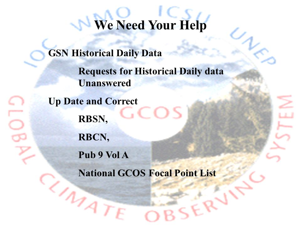 We Need Your Help GSN Historical Daily Data Requests for Historical Daily data Unanswered Up Date and Correct RBSN, RBCN, Pub 9 Vol A National GCOS Focal Point List