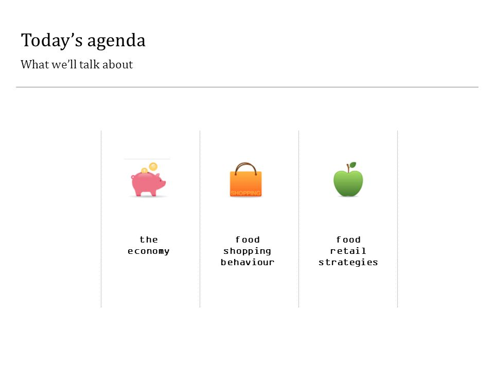 Today's agenda What we'll talk about the economy food shopping behaviour food retail strategies