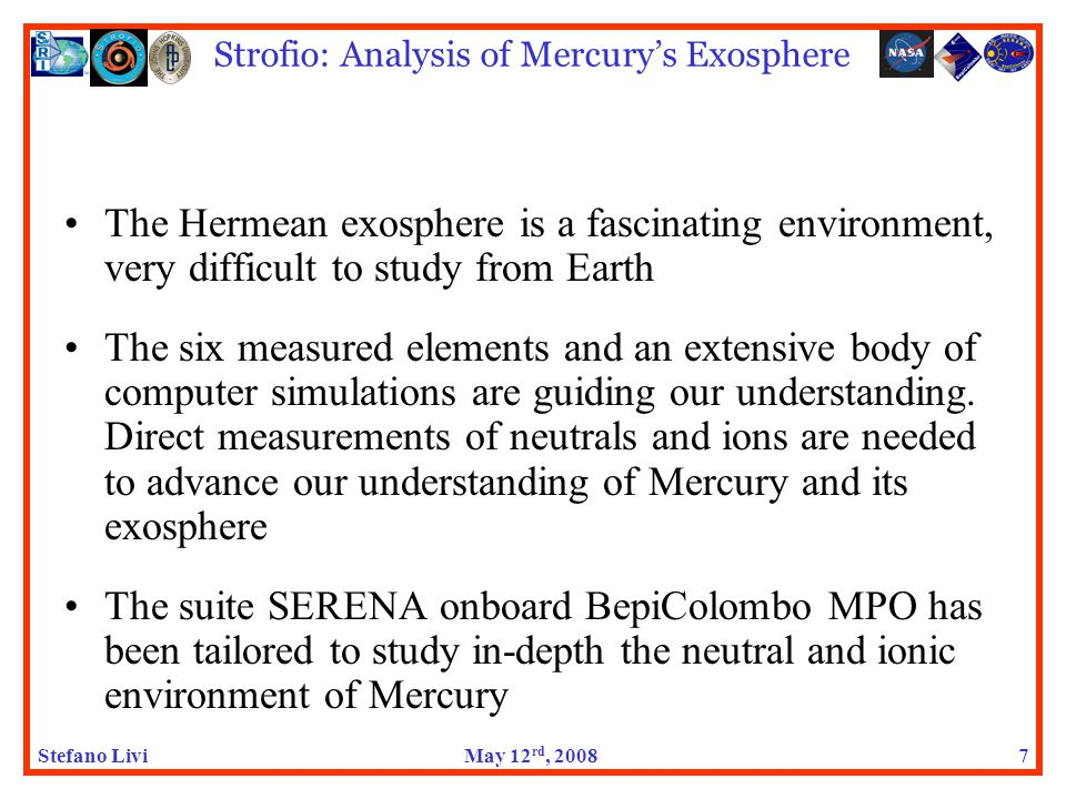 Stefano LiviMay 12 rd, 2008 Strofio: Analysis of Mercury's Exosphere 18 NASA: the Saga continues (6) My personal reading of the tea leaves: 1.NASA is indeed willing and wishing to finance Strofio 2.They cannot find an appropriate way 3.They may be cautious of creating a precedent