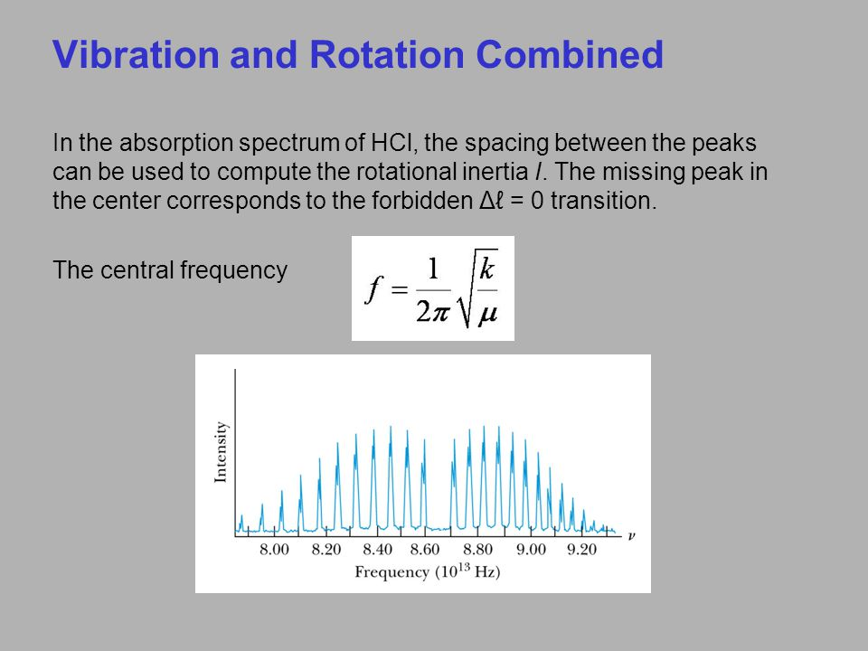 In the absorption spectrum of HCl, the spacing between the peaks can be used to compute the rotational inertia I. The missing peak in the center corre