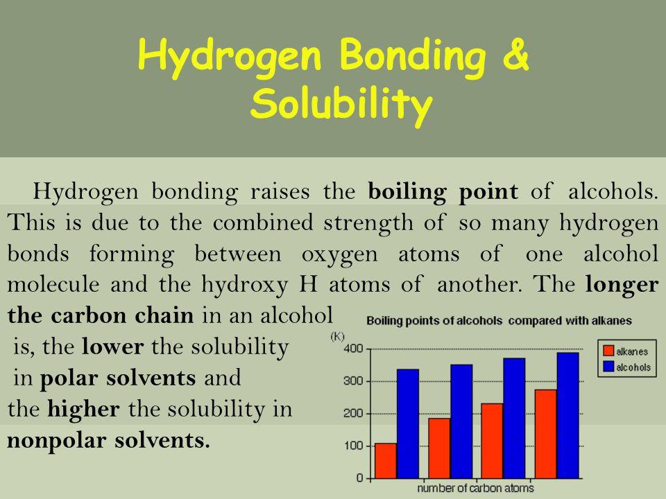 Hydrogen Bonding & Solubility Hydrogen bonding raises the boiling point of alcohols.