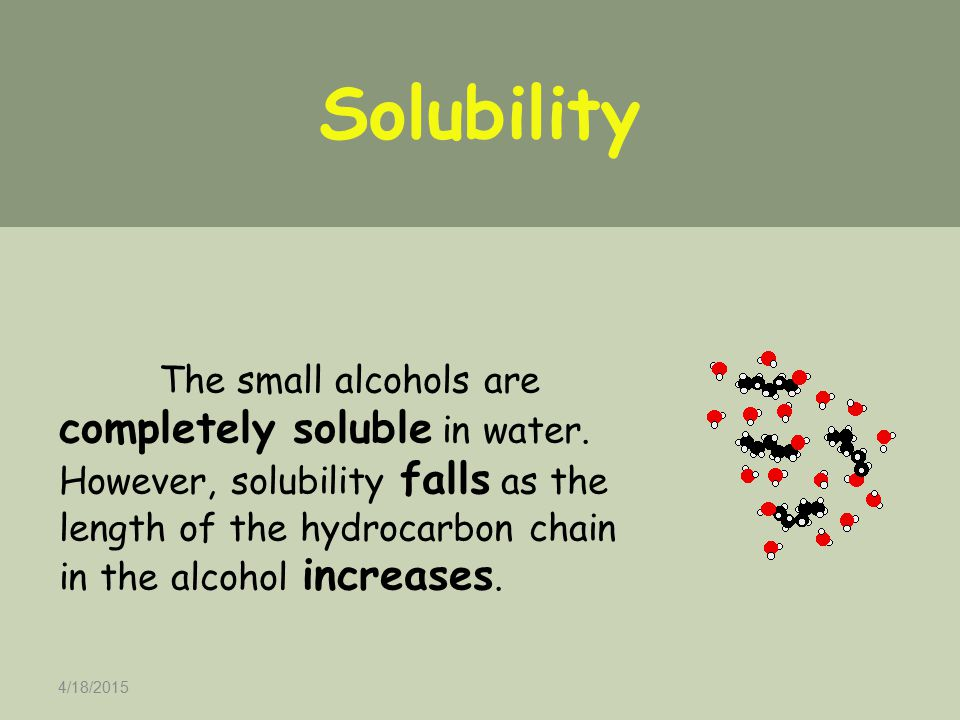 4/18/2015 The small alcohols are completely soluble in water. However, solubility falls as the length of the hydrocarbon chain in the alcohol increase