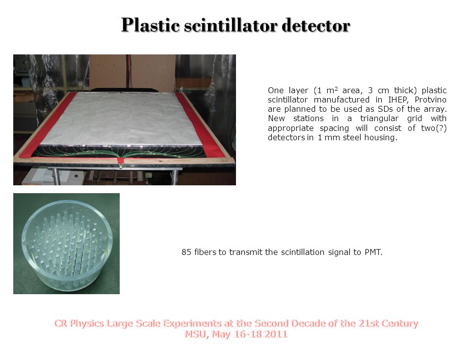 One layer (1 m 2 area, 3 cm thick) plastic scintillator manufactured in IHEP, Protvino are planned to be used as SDs of the array.