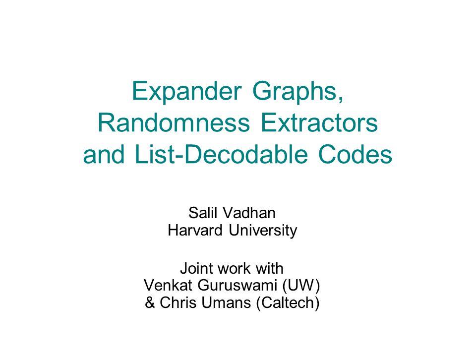[GW94,WZ95,TUZ01, RVW00,CRVW02] Connections in Pseudorandomness Randomness Extractors Expander Graphs List-Decodable Error-Correcting Codes Pseudorandom Generators Samplers [Tre99,RRV99, ISW99,SU01,U02] [Tre99,TZ01, TZS01,SU01] [CW89,Z96] This Work [PV05,GR06] This Work
