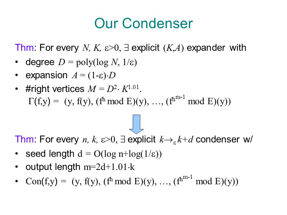 Our Condenser Thm: For every N, K,  >0, 9 explicit (K,A) expander with degree D = poly(log N, 1/  ) expansion A = (1-  ) ¢ D #right vertices M = D 2 ¢ K 1.01.