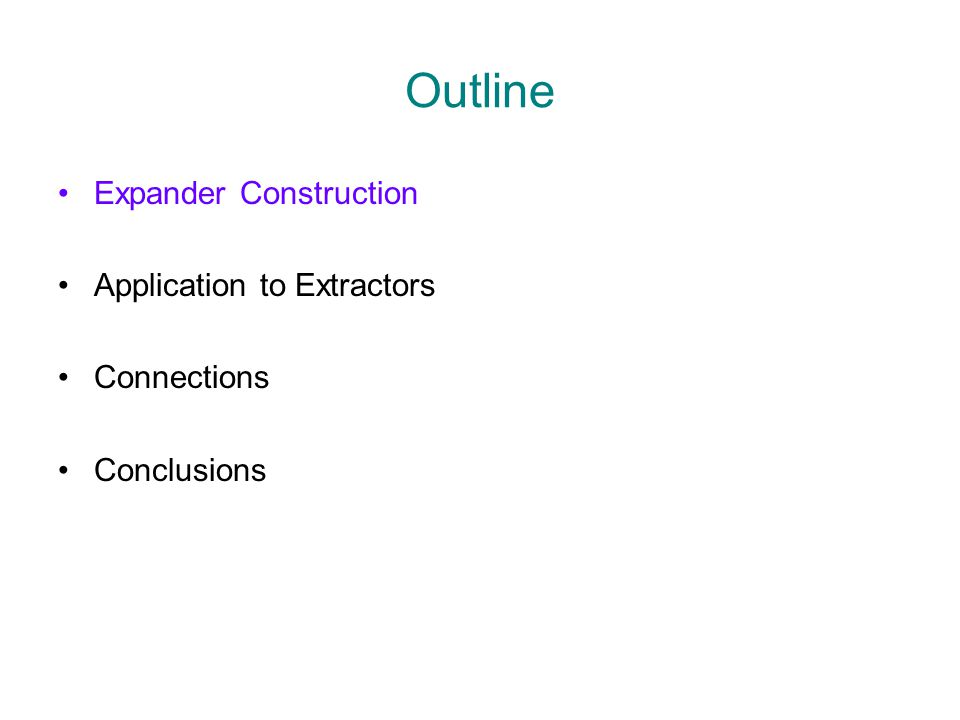 (Bipartite) Expander Graphs Goals: Minimize D Maximize A Minimize M |  (S)|  A ¢ |S| D N M  S, |S|  K Nonconstructive: D = O(log(N/M)/  ) A = (1-  ) ¢ D M =  (KD/  (K,A) expander O(1) if M=N  log N) if M ·p N =