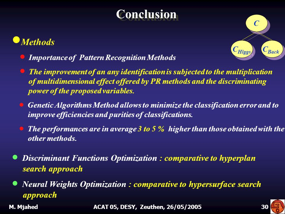 Conclusion  Methods  Importance of Pattern Recognition Methods  The improvement of an any identification is subjected to the multiplication of multidimensional effect offered by PR methods and the discriminating power of the proposed variables.