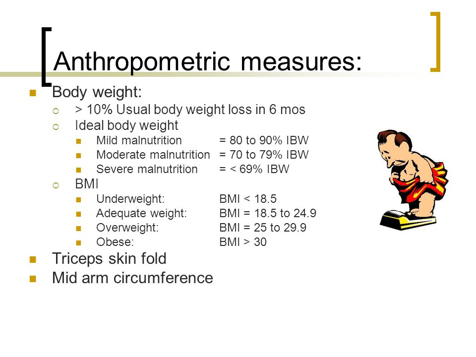Anthropometric measures: Body weight:  > 10% Usual body weight loss in 6 mos  Ideal body weight Mild malnutrition= 80 to 90% IBW Moderate malnutrition = 70 to 79% IBW Severe malnutrition= < 69% IBW  BMI Underweight: BMI < 18.5 Adequate weight: BMI = 18.5 to 24.9 Overweight: BMI = 25 to 29.9 Obese: BMI > 30 Triceps skin fold Mid arm circumference