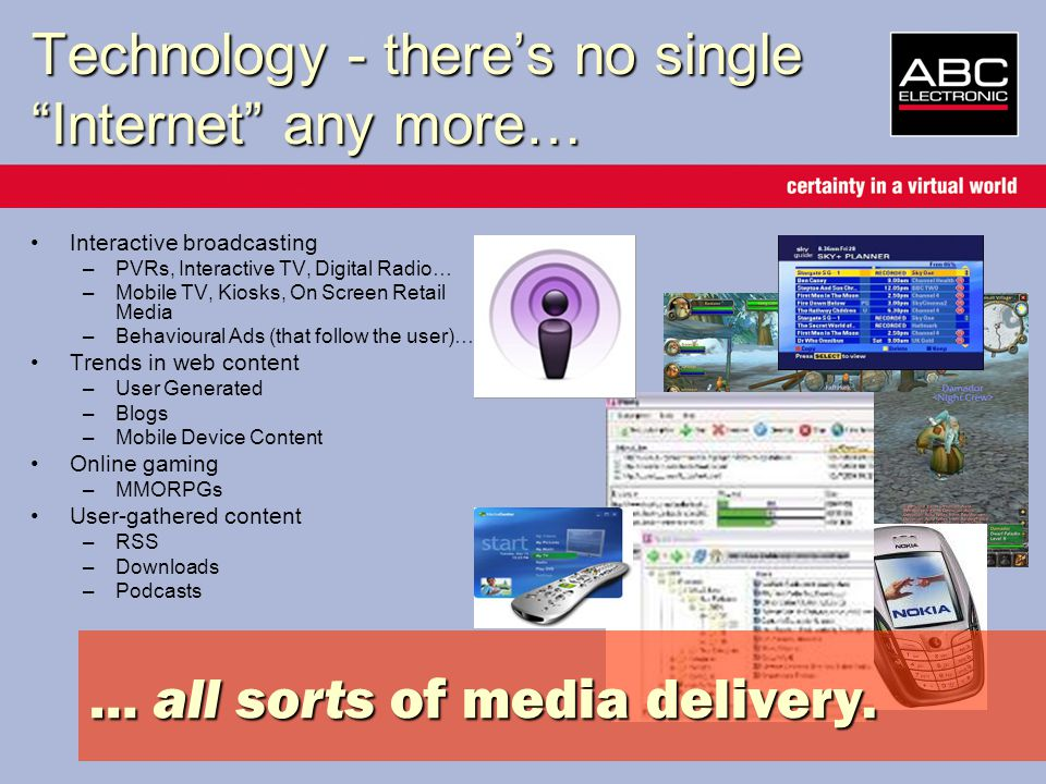 Technology - there's no single Internet any more… Interactive broadcasting –PVRs, Interactive TV, Digital Radio… –Mobile TV, Kiosks, On Screen Retail Media –Behavioural Ads (that follow the user)… Trends in web content –User Generated –Blogs –Mobile Device Content Online gaming –MMORPGs User-gathered content –RSS –Downloads –Podcasts … all sorts of media delivery.