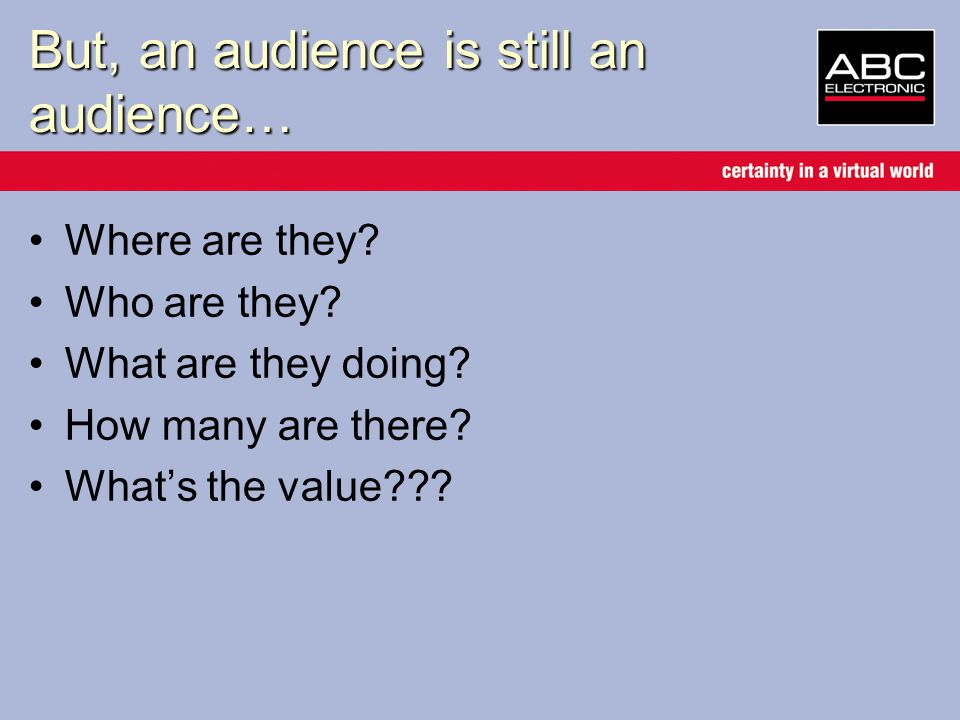 But, an audience is still an audience… Where are they.