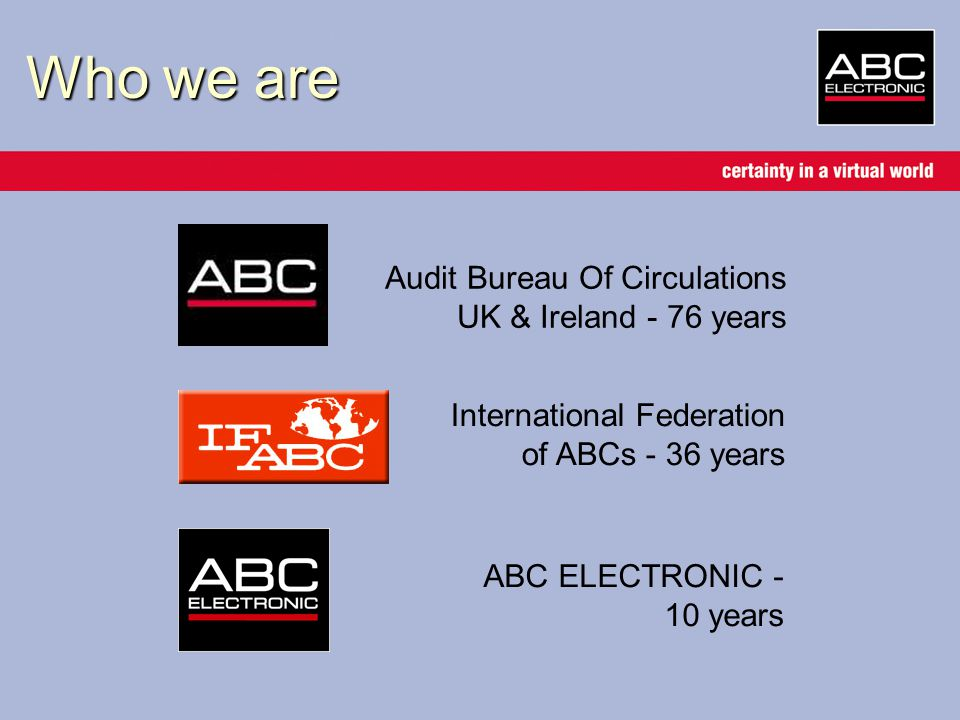 About ABC ELECTRONIC Industry-owned Not-for-profit Impartial and independent Part of the UK ABC (Audit Bureau of Circulations) –3500 magazines and newspapers –Trading some £5bn annually in print Delivering website traffic audits for over 150 companies and certifying over 1400 domains (and growing …) in a market now worth over £2bn pa Building confidence, delivering trust