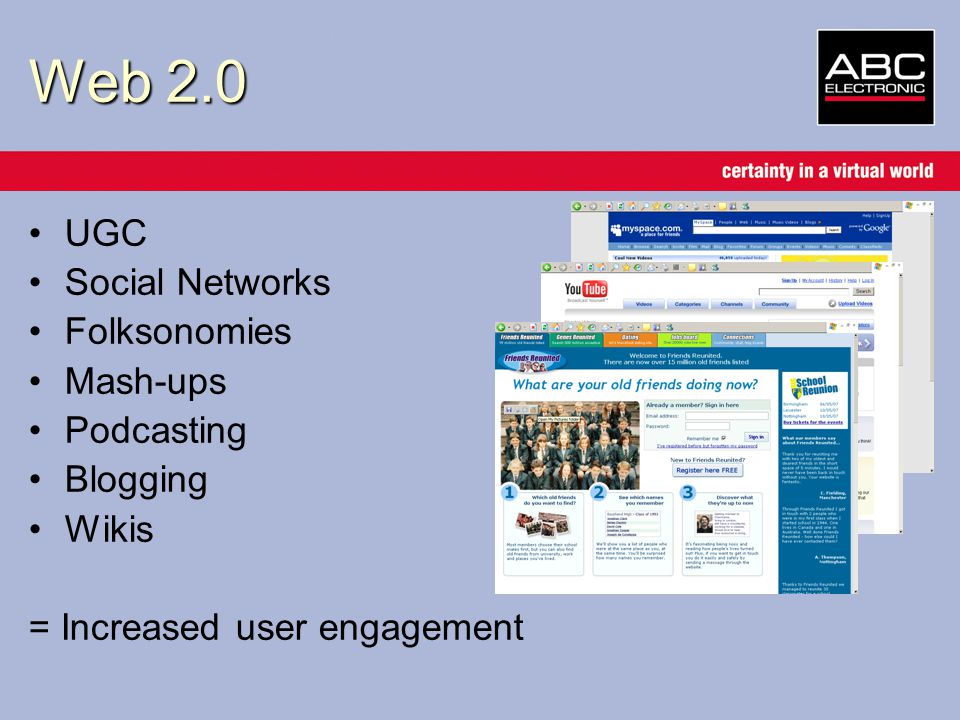 Web 2.0 UGC Social Networks Folksonomies Mash-ups Podcasting Blogging Wikis = Increased user engagement