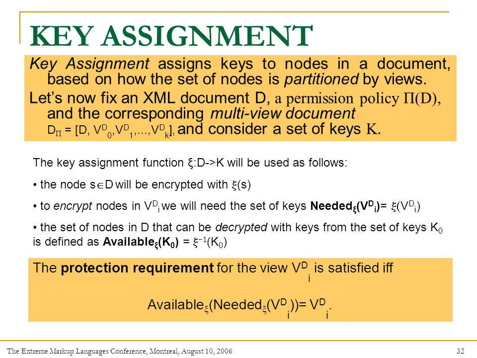32 The Extreme Markup Languages Conference, Montreal, August 10, 2006 Key Assignment assigns keys to nodes in a document, based on how the set of nodes is partitioned by views.