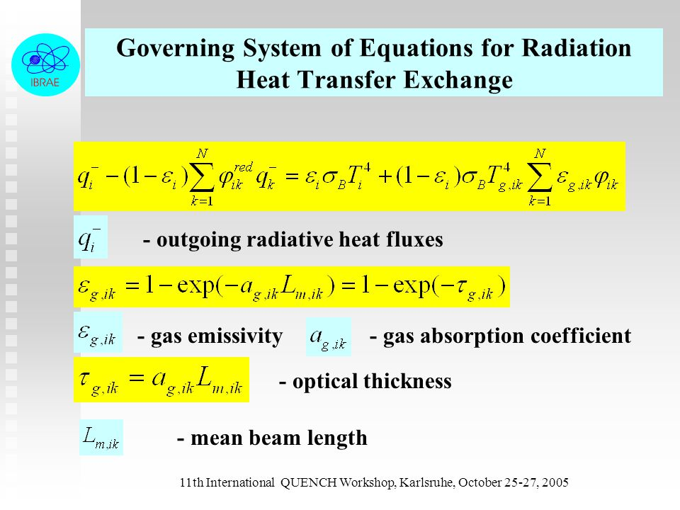 11th International QUENCH Workshop, Karlsruhe, October 25-27, 2005 Governing System of Equations for Radiation Heat Transfer Exchange - outgoing radia