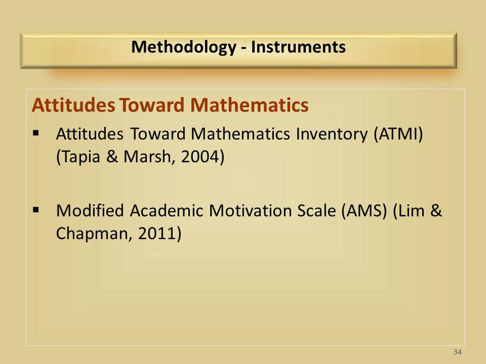 34 Methodology - Instruments Attitudes Toward Mathematics  Attitudes Toward Mathematics Inventory (ATMI) (Tapia & Marsh, 2004)  Modified Academic Mo