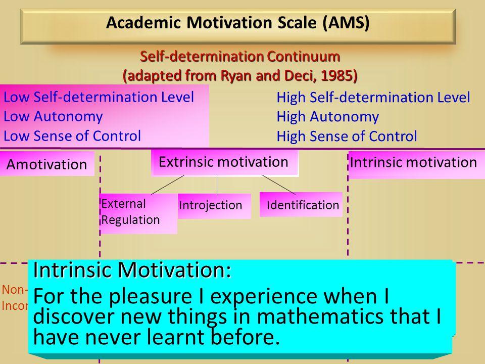 High Self-determination Level High Autonomy High Sense of Control Low Self-determination Level Low Autonomy Low Sense of Control Intrinsic motivation