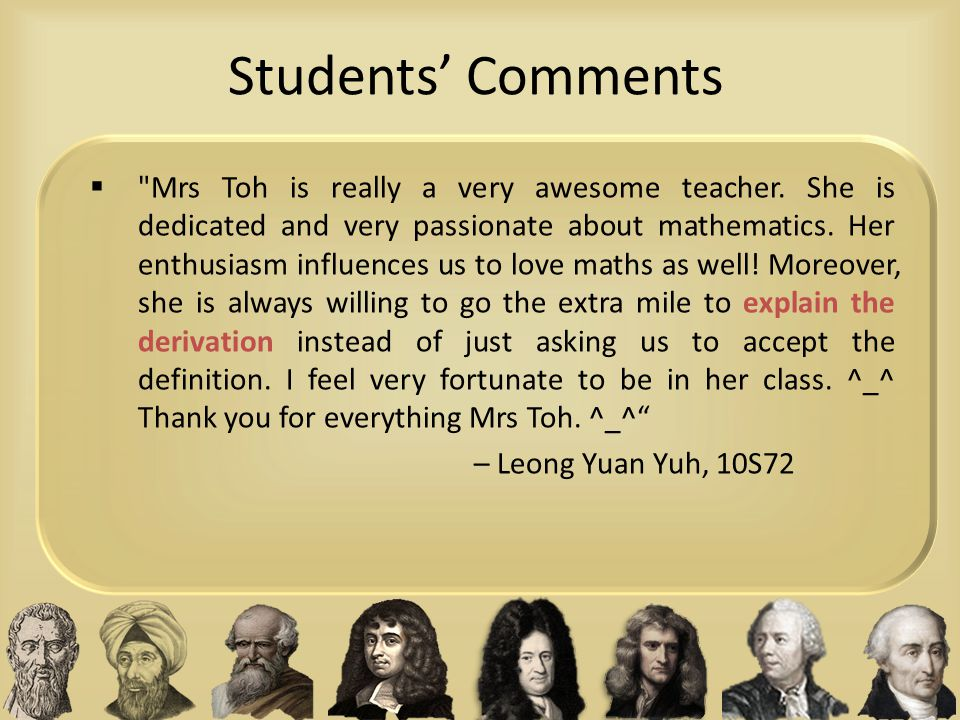 Students' Comments 