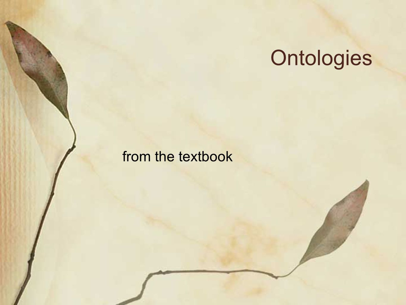 Ontologies from the textbook