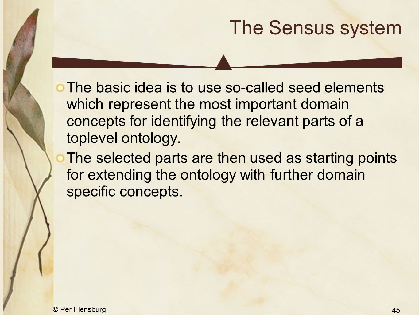© Per Flensburg 45 The Sensus system The basic idea is to use so-called seed elements which represent the most important domain concepts for identifyi