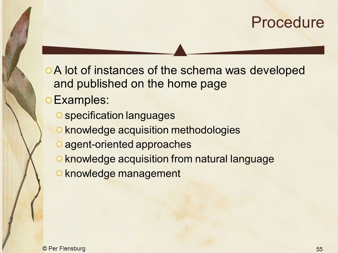 © Per Flensburg 55 Procedure A lot of instances of the schema was developed and published on the home page Examples: specification languages knowledge