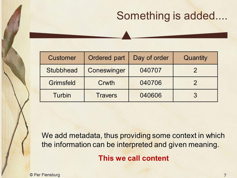 © Per Flensburg 7 Something is added.... CustomerOrdered partDay of orderQuantity StubbheadConeswinger0407072 GrimsfeldCrwth0407062 TurbinTravers04060
