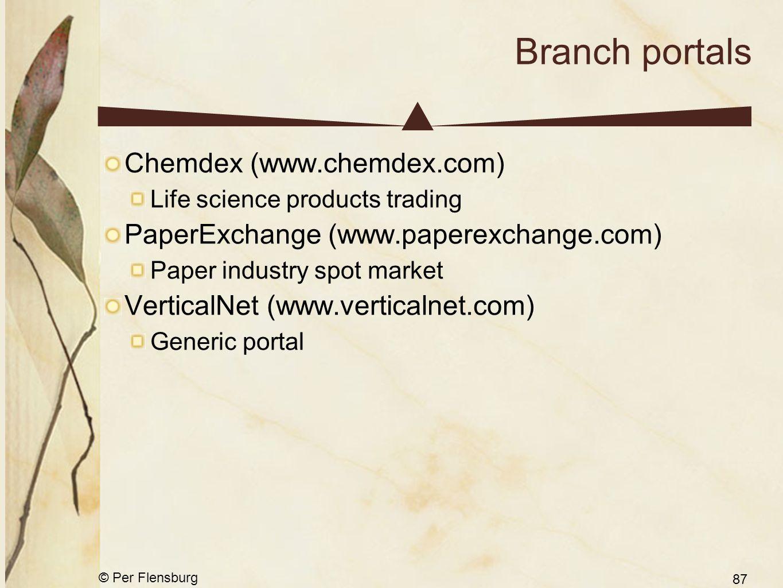 © Per Flensburg 87 Branch portals Chemdex (www.chemdex.com) Life science products trading PaperExchange (www.paperexchange.com) Paper industry spot market VerticalNet (www.verticalnet.com) Generic portal