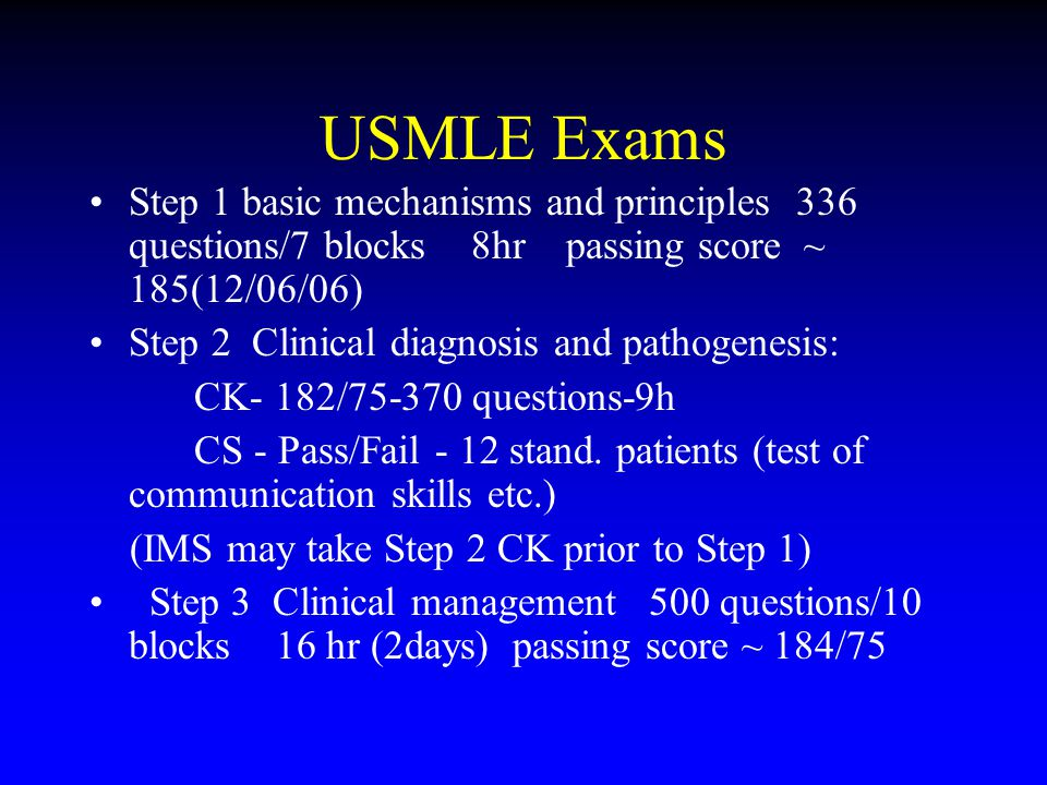 USMLE Exams Step 1 basic mechanisms and principles 336 questions/7 blocks 8hr passing score ~ 185(12/06/06) Step 2 Clinical diagnosis and pathogenesis