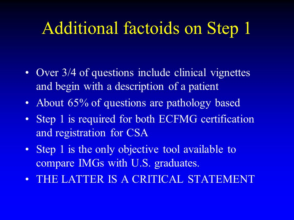 Additional factoids on Step 1 Over 3/4 of questions include clinical vignettes and begin with a description of a patient About 65% of questions are pa
