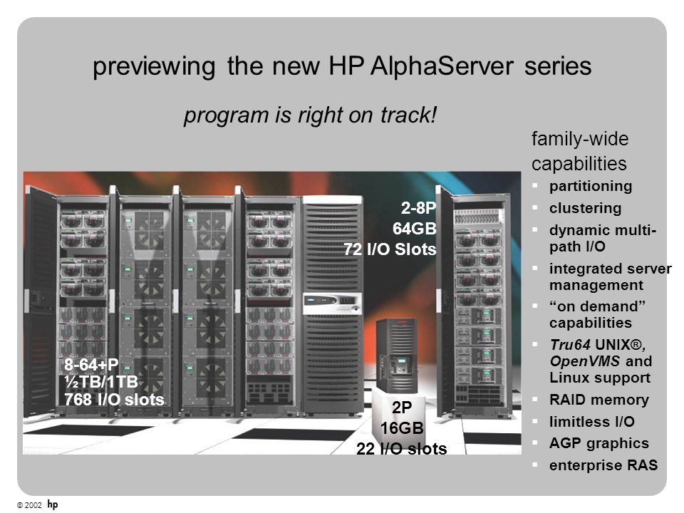 © 2002 previewing the new HP AlphaServer series 2P 16GB 22 I/O slots 2-8P 64GB 72 I/O Slots 8-64+P ½TB/1TB 768 I/O slots family-wide capabilities  pa