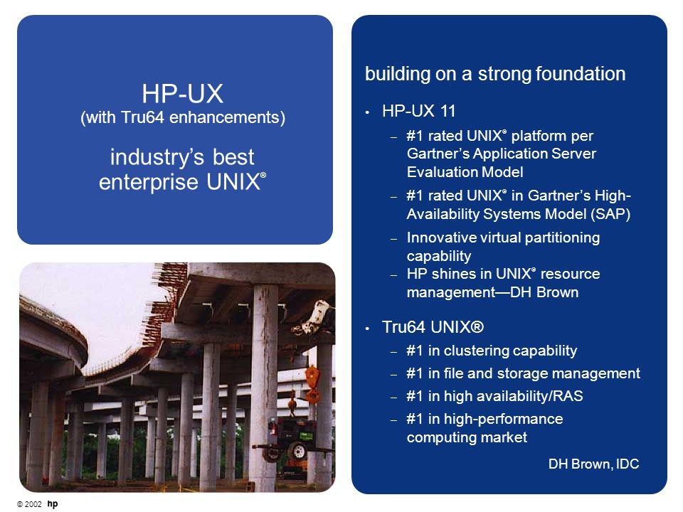 © 2002 HP-UX (with Tru64 enhancements) industry's best enterprise UNIX ® building on a strong foundation HP-UX 11 – #1 rated UNIX  platform per Gartn