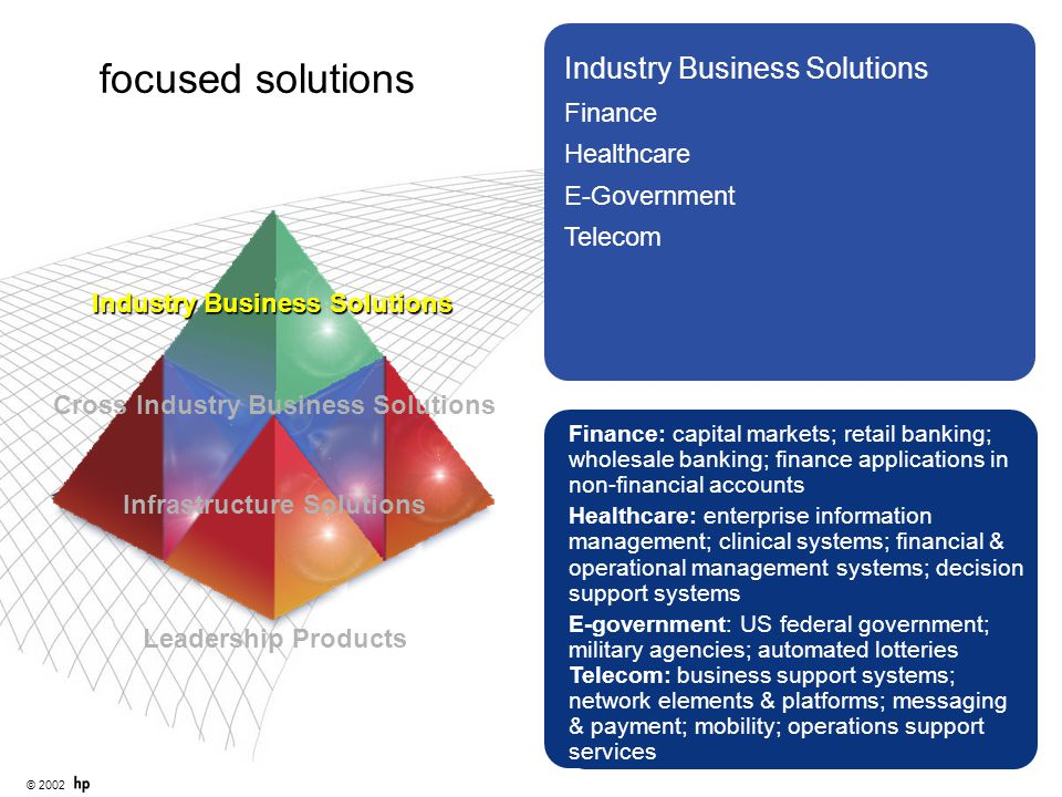 © 2002 Industry Business Solutions Finance Healthcare E-Government Telecom Infrastructure Solutions Finance: capital markets; retail banking; wholesal