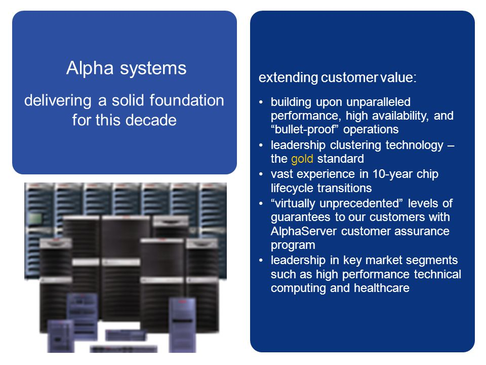 """Alpha systems delivering a solid foundation for this decade extending customer value: building upon unparalleled performance, high availability, and """""""