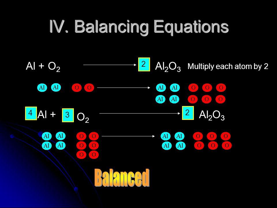 IV. Balancing Equations Al + O 2 2 Al 2 O 3 4 3 Al + 2 Al 2 O 3 O2O2 Multiply each atom by 2