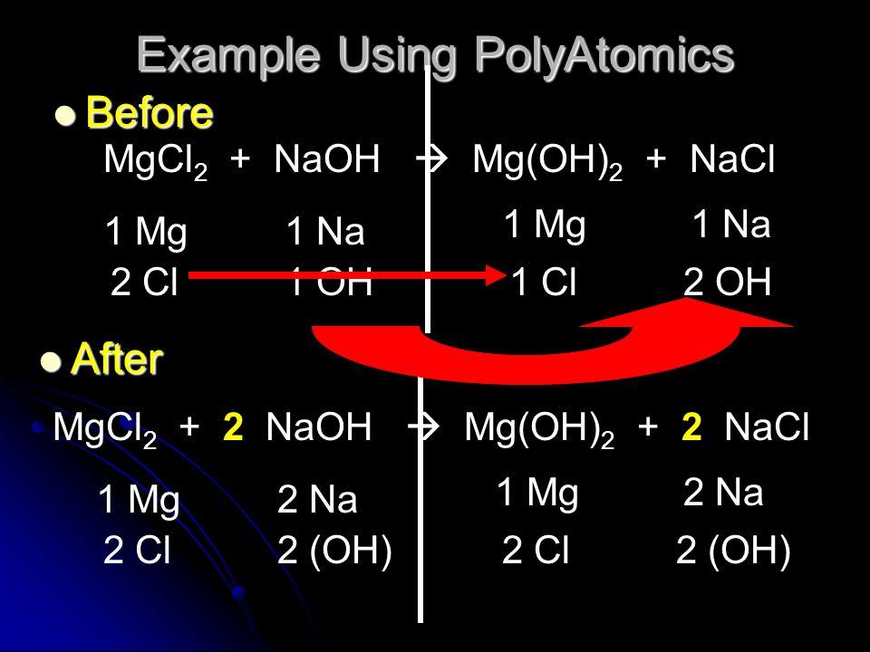 Example Using PolyAtomics Before Before MgCl 2 + NaOH  Mg(OH) 2 + NaCl 1 Mg 2 Cl1 Cl 1 Na 1 OH2 OH MgCl 2 + 2 NaOH  Mg(OH) 2 + 2 NaCl 1 Mg 2 Cl 2 Na