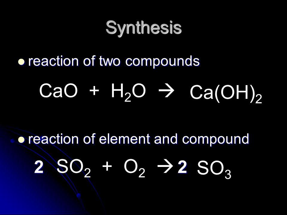 reaction of two compounds reaction of two compounds reaction of element and compound reaction of element and compound Synthesis CaO + H 2 O  Ca(OH) 2