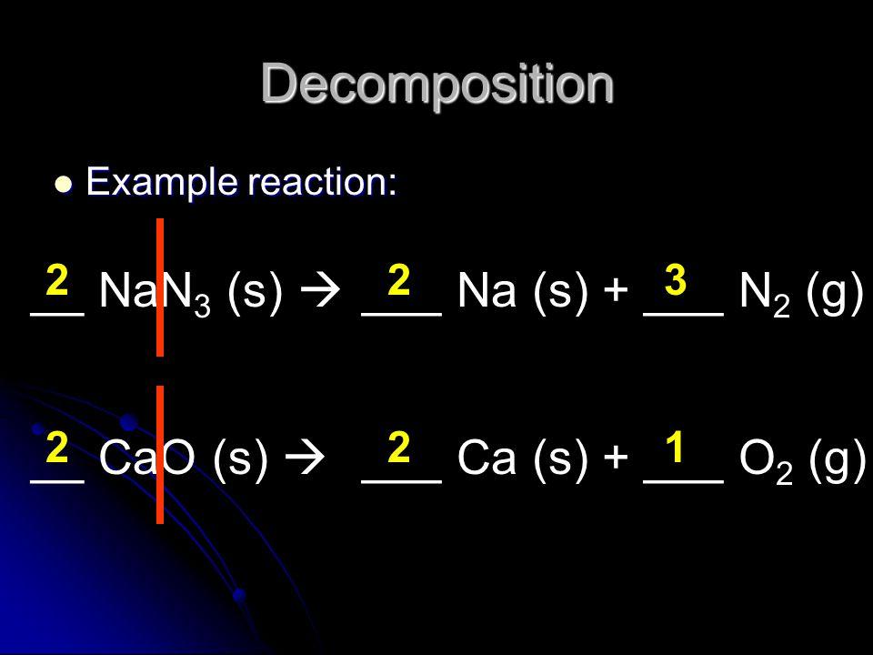 Decomposition Example reaction: Example reaction: __ NaN 3 (s)  ___ Na (s)+ ___ N 2 (g) 223 __ CaO (s)  ___ Ca (s)+ ___ O 2 (g) 221
