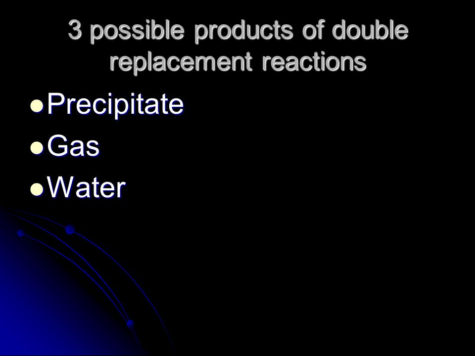 3 possible products of double replacement reactions Precipitate Precipitate Gas Gas Water Water