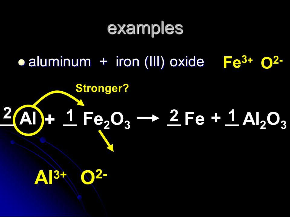 examples aluminum + iron (III) oxide aluminum + iron (III) oxide Al Fe 2 O 3 + Stronger? Al 3+ O 2- Al 2 O 3 Fe + Fe 3 + O 2- 2 211