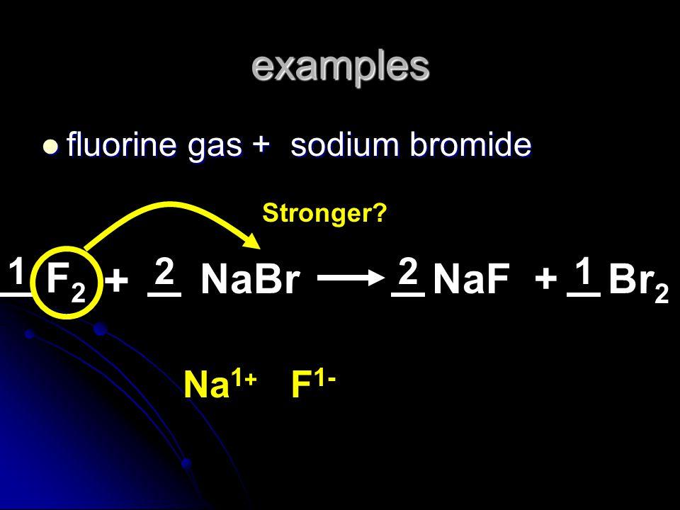 examples fluorine gas + sodium bromide fluorine gas + sodium bromide F2F2 NaBr + Stronger? Br 2 NaF+ Na 1 + F 1- 2211