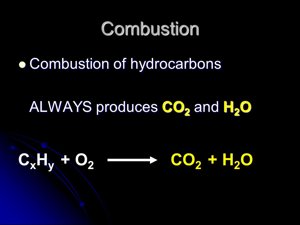 Combustion Combustion of hydrocarbons ALWAYS produces CO2 and H2O C x H y + O 2 CO 2 + H 2 O