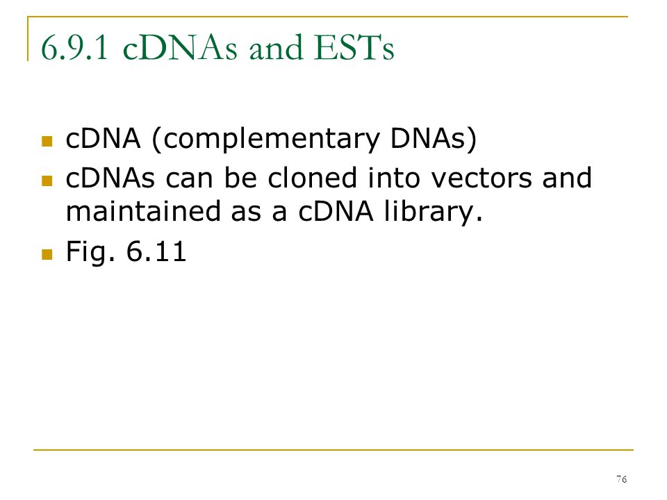 75 6.9 Gene Expression Eukaryotic gene recognition algorithms employ  Known promoter elements (i.e., TATA and CAAT boxes);  CpG islands;  Splicing signal associated with introns;  ORFs with characteristic codon utilizations;  Similarity to the ESTs or genes from other organism.