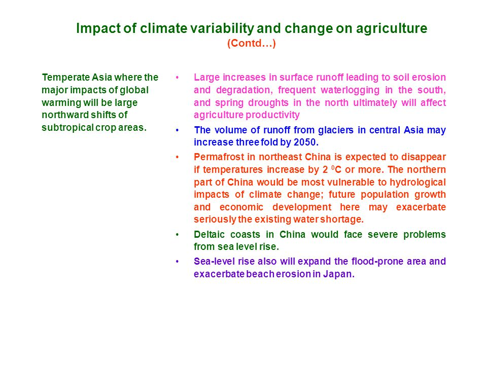 Impact of climate variability and change on agriculture (Contd…) Temperate Asia where the major impacts of global warming will be large northward shifts of subtropical crop areas.