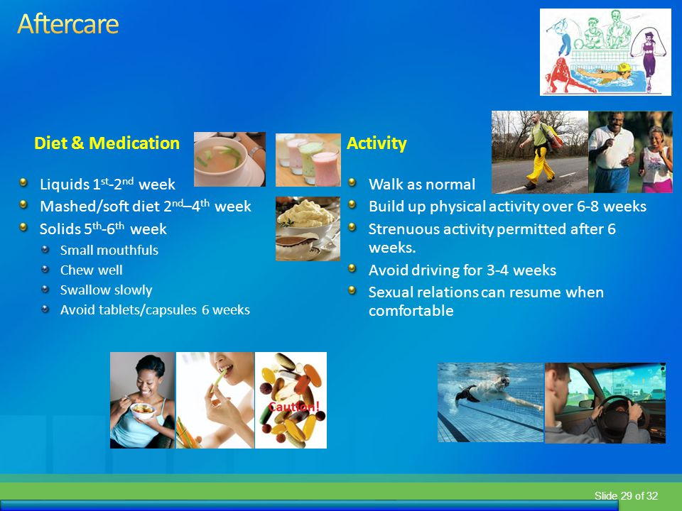 Slide 29 of 32 Diet & MedicationActivity Liquids 1 st -2 nd week Mashed/soft diet 2 nd –4 th week Solids 5 th -6 th week Small mouthfuls Chew well Swa