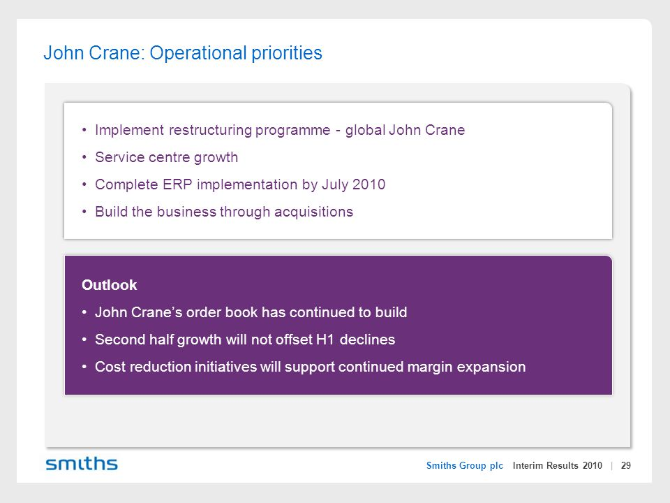 Smiths Group plc Interim Results 2010 | 29 John Crane: Operational priorities Implement restructuring programme - global John Crane Service centre growth Complete ERP implementation by July 2010 Build the business through acquisitions Outlook John Crane's order book has continued to build Second half growth will not offset H1 declines Cost reduction initiatives will support continued margin expansion