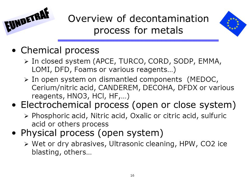 16 Overview of decontamination process for metals Chemical process  In closed system (APCE, TURCO, CORD, SODP, EMMA, LOMI, DFD, Foams or various reag