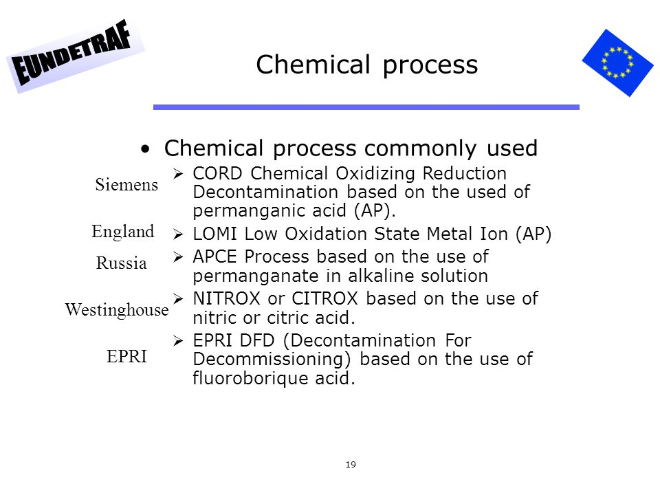 19 Chemical process Chemical process commonly used  CORD Chemical Oxidizing Reduction Decontamination based on the used of permanganic acid (AP).  L